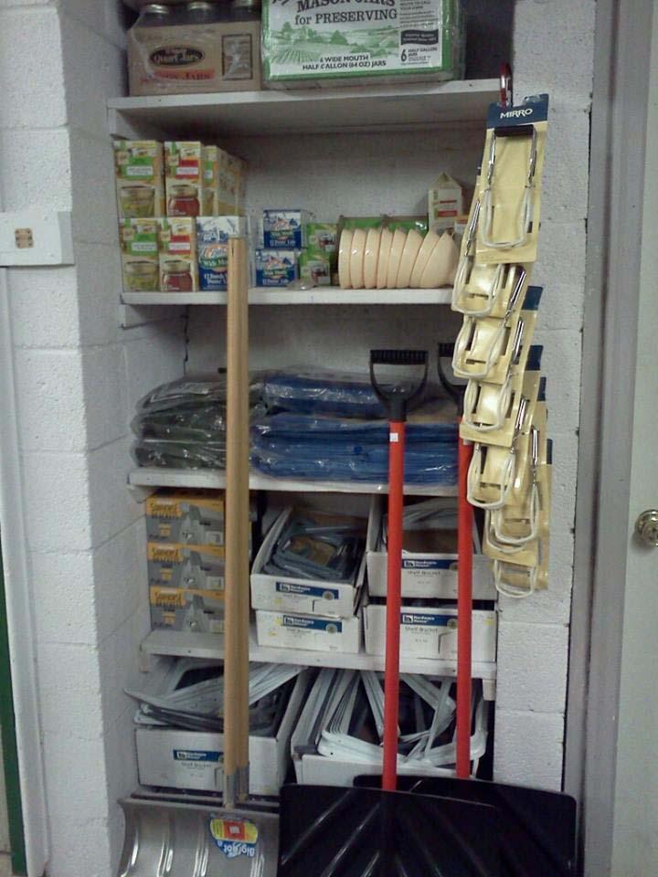 tarps, shelf brackets, canning supplies