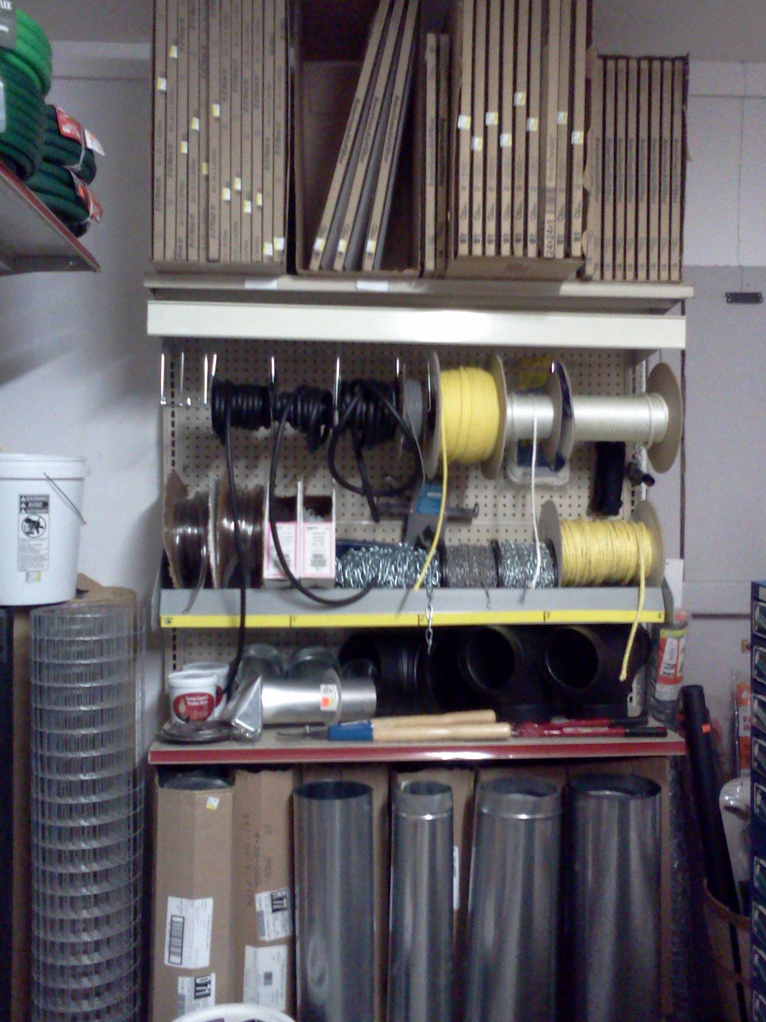 furnace filters, rope/chain, stove pipe