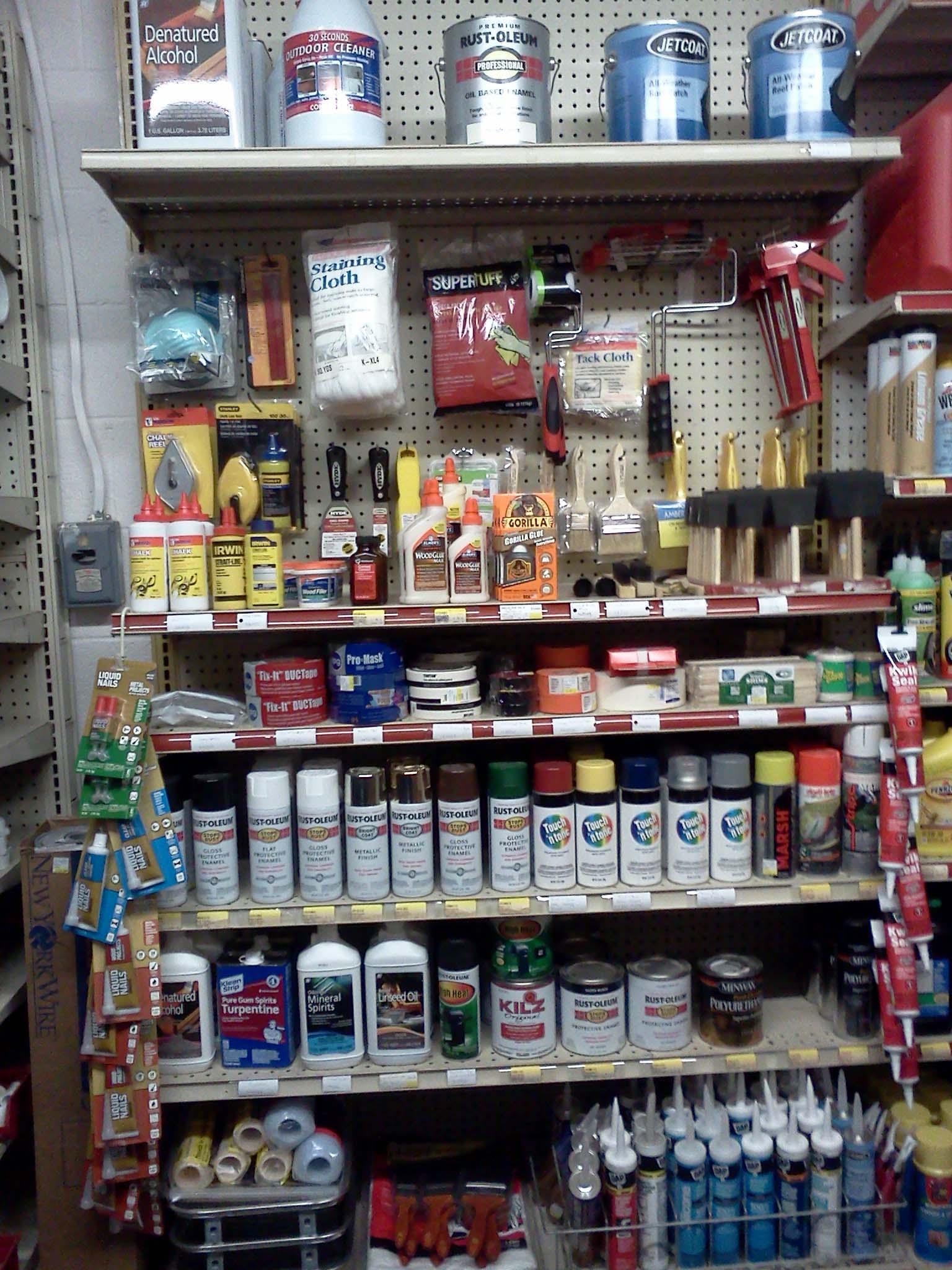 tapes, adhesives, painting supplies